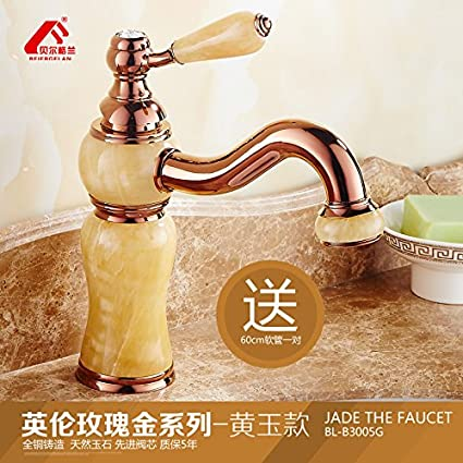 LHbox Basin Mixer Tap Bathroom Sink Faucet European faucet rose gold basin of hot and cold natural Green Jade Sinks Faucets full copper Washbasin Faucet, favorite products