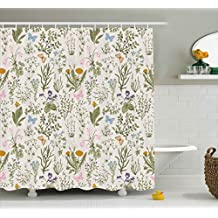 Floral Shower Curtain by Ambesonne, Vintage Garden Plants with Herbs Flowers Botanical Classic Design, Fabric Bathroom Decor Set with Hooks, 84 Inches Extra Long, Beige Reseda Green Pink Blue