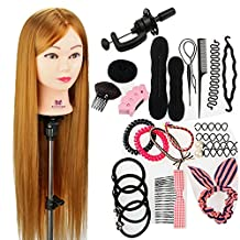 """Neverland Beauty 30"""" 100% Synthetic Fiber Hair Training Head Hairdressing Hairdresser Practice Mannequin Manikin Doll with Clamp Stand + Hair Braid Accessoires Set"""