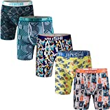 JINSHI Men's Boxer Briefs Underwear Ultra Soft Stretch Long Boxer Briefs Size M