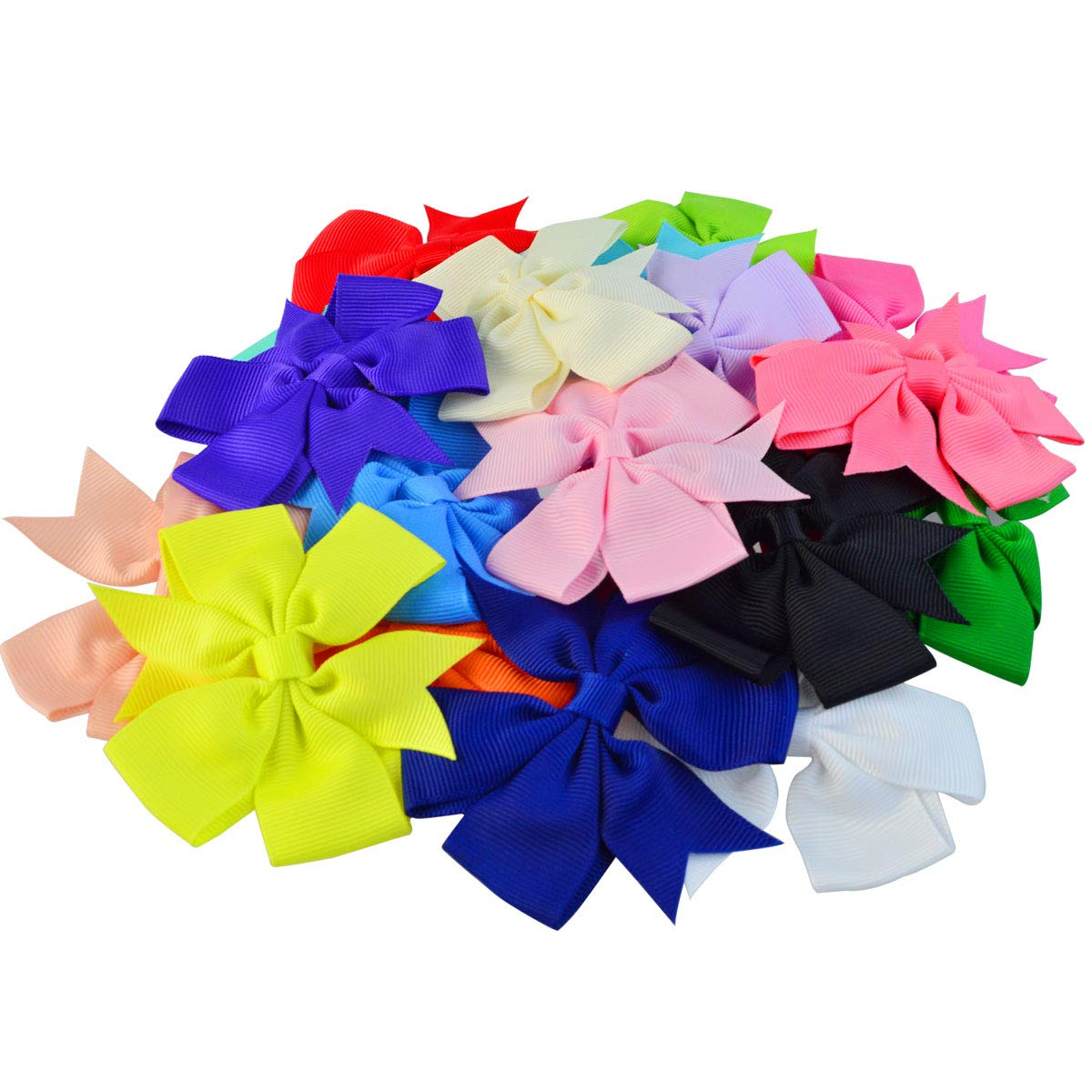 20 pcs 3 inch Hair Bows, baotongle Boutique Hair Bows Girls Kids Alligator Clip Grosgrain Ribbon Hair Clips for Baby Girls Teens Toddlers Friends