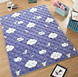 Ukeler Soft Flannel Baby Play Mat, Cute Cloud Pattern Large Yoga Mat Picnic Mat Twin Size Bed Cushion, 59''×78.7''