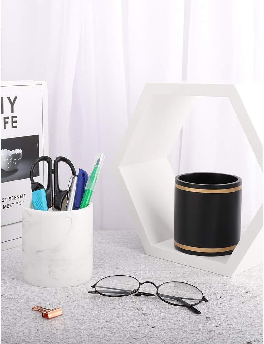 Organiseur Accessoire du Bureau Maison Effaceur Marbre Blanc Organisateur Pinceaux de Maquillage Salle de Classe pour Ranger Stylos Porte-Crayons Design Moderne MoKo Pot /à Crayons
