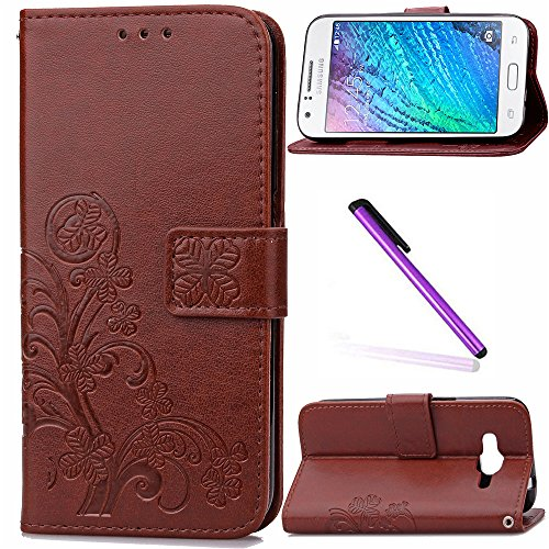 Samsung J1 Ace Case LEECOCO Embossed Lucky Clover Floral with Card Cash Slots Wrist Strap Magnetic Folio Flip Kickstand PU Leather Wallet Slim Case Cover for Samsung Galaxy J1 Ace - Samsung Flip Cover Ace Galaxy