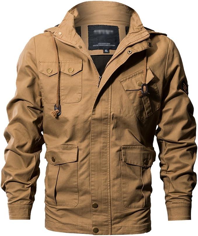 Giacca Sportiva da Uomo Autunno Cotone Parka in Stile Semplice Classica Multi Tasche da Uomo Stile Cargo Giacca Cappotto