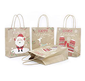 Amazon.com: Bolsas de regalo de papel de estraza de Navidad ...