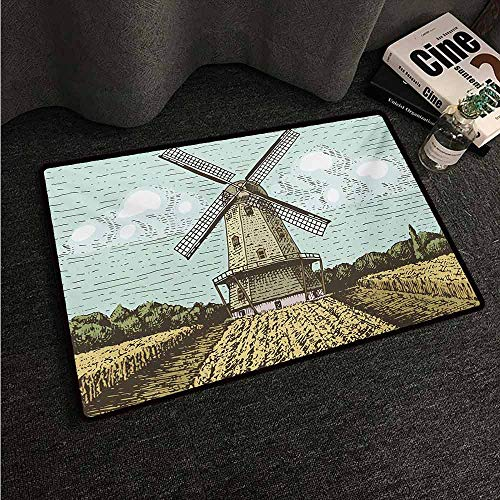 HCCJLCKS Front Door Mat Large Outdoor Indoor Dutch Hand Drawn Style Windmill in a Farmland and Forest Vintage Agriculture Themed Image All Season General W16 xL24 Multicolor