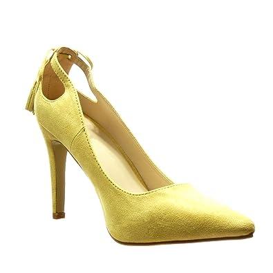 Angkorly Damen Schuhe Pumpe - Stiletto - Sexy - Bommel - Fransen Stiletto High Heel 10 cm - Gelb C61-03 T 38 G8h2TPpt