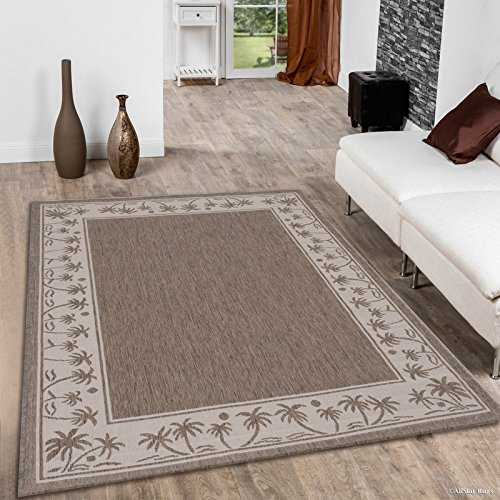 Allstar 8 X 10 Mocha with Ivory Indoor Outdoor Solid with Palm Trees Area Rug (7