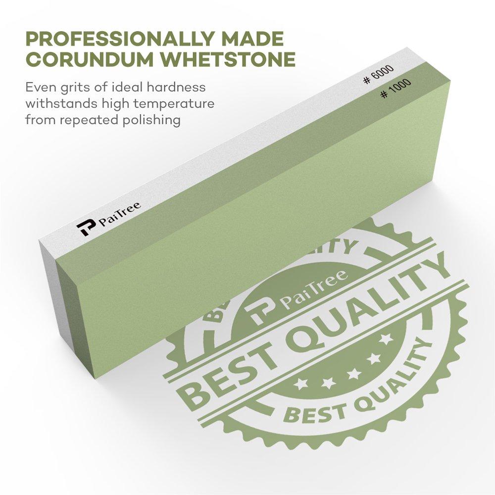 Whetstone, Premium Knife Sharpener Sharpening Stone Water Stone Kit by PaiTree, Safe Honing Holder Silicone Base Included (1000/6000 Grit) by Paitree (Image #4)