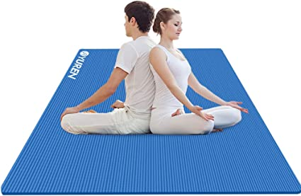 Amazon Com Yuren Large Yoga Mat 78x51inch Extra Wide Double Exercise Mat 1 2 Inch Thick Nbr Foam Mat Oversized Workout Mat Home Gym Pilates Mats Sports Outdoors