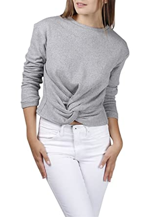 5f0b3087f18 Central Park West Clover Twist Front Crewneck Sweater - Grey at Amazon  Women's Clothing store: