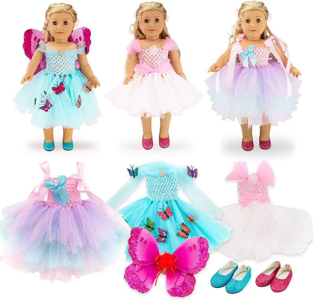 """Oct17 Doll Clothes for American Girl 18"""" inch Dolls Outifts Fairy Butterfly Dress Accessories"""