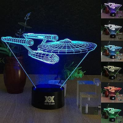Battleship 3D Night LAMP 7 Colour Touch Switch Table Desk Night Light Kiddie Kids Gift Home Decoration Color Changeable Kiddie Kids Gift Home Decoration Designed by HUI YUAN