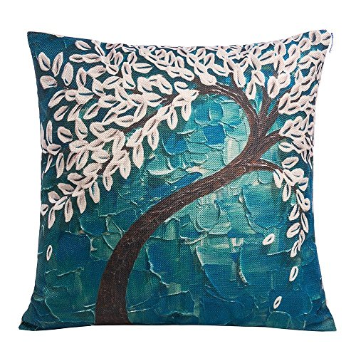Anickal 18 X 18 Square Teal Oil Painting White Flower Black Tree Print  Pattern Throw Pillow Cover Decorative Pillow Case