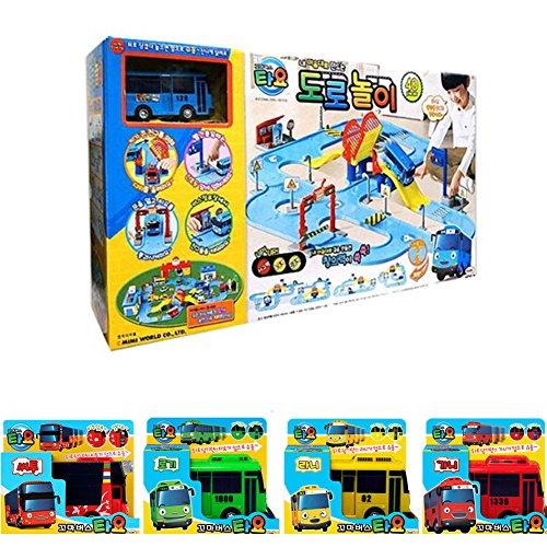 [Iconic]Tayo The Little Bus Street Road Play Assembly Puzzle With 5 pcs Buses Set & PDF English Name for Road play set Composition by ICONIC