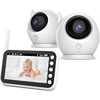 ABM100 Wireless 2 Camera Baby Monitor with 11cm HD LCD Display Screen | Infrared Night Vision Mode | Two Way Intercom | Crying Detection | Lullaby | Temperature Monitoring | Breastfeeding Reminder Alarm
