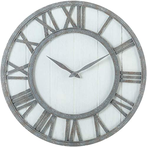 Oldtown Farmhouse Metal Solid Wood Noiseless Wall Clock Whitewash, 18-inch