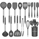 Silicone Cooking Utensil Set,Umite Chef Kitchen Utensils 15pcs Cooking Utensils Set Non-stick Heat Resistan BPA-Free Silicone Stainless Steel Handle Cooking Tools Whisk Kitchen Tools Set - Grey