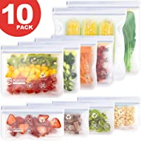 Bolsas de Silicona Reutilizables 10 Pack, Bolsas CongelarReutilizables para Almacenamiento de Alimentos, Bolsa Bocadillos Sándwich Merienda Porta Snacks, Bolsas de Conservación para Fruta Verduras, Sin BPA (Blanco)