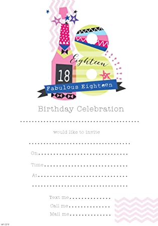 pack of 20 18th birthday party invitation sheets envelopes 18th female - 18th Birthday Party Invitations