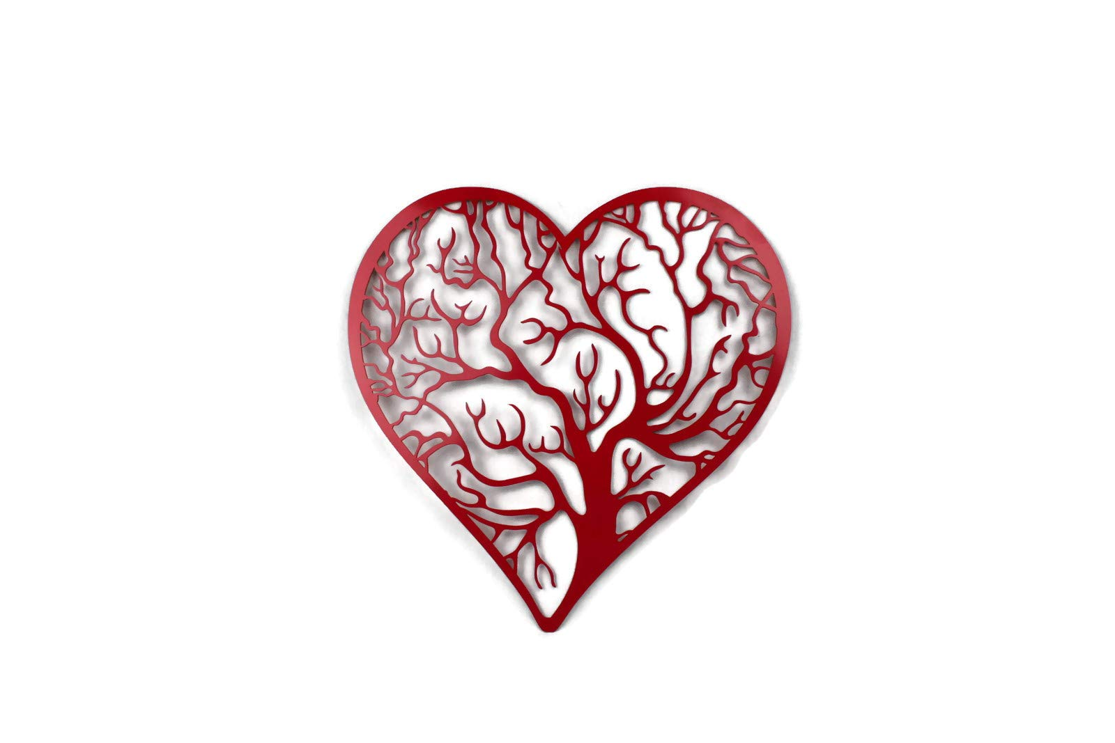 81 Metal Art Banded Heart Shape Tree of Life Steel Plaque (Red, 16x16)