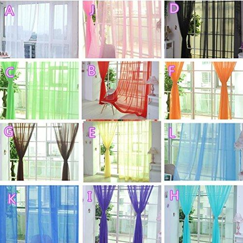 CieKen Semi-Sheer Window Scarf - Elegant Home Decor Window Treatments - 1 Pcs Pure Color Tulle Door Window Curtain Drape Panel Sheer Scarf Valances (Multicolor K)