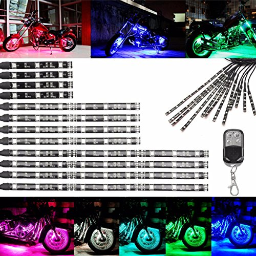AUDEW 12x Motorcycle 5050LED Wireless Remote Multi Color Neon Glow Flashing Lights RGB Flexible Strips Ground Effect Light - Light Ground Effect Kit
