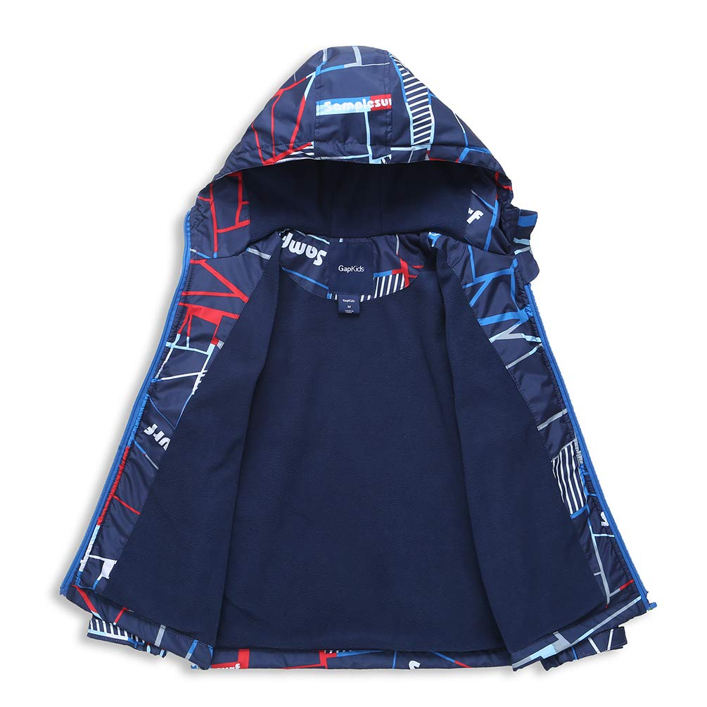 Laus Boys Windbreaker Jackets Fleece Lined Lightweight Raincoat Hooded