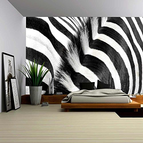 wall26 - Zebra Fur and Mane - Removable Wall Mural | Self-adhesive Large Wallpaper - 66x96 (Zebra Stripes Wallpaper)