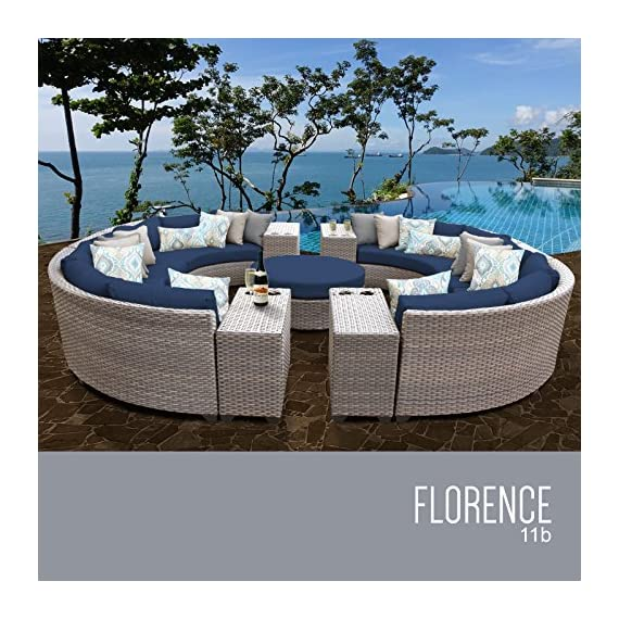 TK Classics FLORENCE-11b-NAVY 11 Piece Outdoor Wicker Patio Furniture Set, Navy - Thick cushions for a luxurious look and feel Cushion covers - washable and zippered for easy cleaning (air dry Only) Feet Levelers - Height adjusters for uneven surfaces that won't mar your patio or deck - patio-furniture, patio, conversation-sets - 613tVTbU7bL. SS570  -