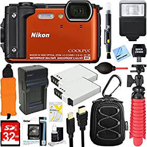 Nikon COOLPIX W300 16MP 4k Ultra HD Waterproof Digital Camera (Orange) + 32GB Memory & Flash Deluxe Accessory Bundle
