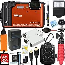 Nikon COOLPIX W300 16MP 4k Ultra HD Waterproof Digital Camera (Orange) + 32GB Memory & Flash Deluxe Accessory Bundle