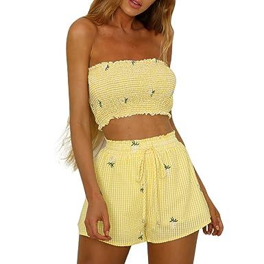 ff52b07e1 YKA Fashion Women Girls Print Off Shoulder Vest Two Sets Shorts Bandage  Pants (L): Amazon.co.uk: Clothing