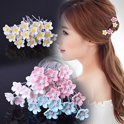 Child bride dish hair headdress new small daisy flowers braided hair pin hair fork hair accessories hairpin hairpin-type clip accessories for women girl lady (Daisy Fork)