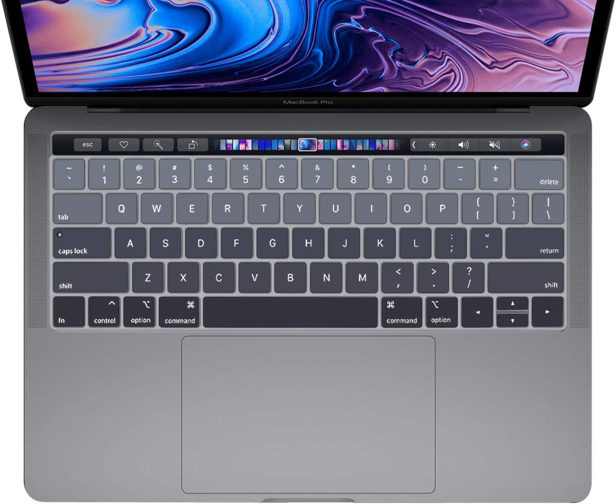 ProElife Grey Gradient Keyboard Cover Ultra Thin Keyboard Protector Skin for MacBook Pro with Touch Bar 13-inch 15-inch (Model A2159, A1989, A1990, A1706, A1707) (2019 2018 2017 2016) (Ombre Grey)