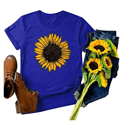 T Shirts for Women Graphic, Sunflower Tees Women Short Sleeve Round Neck Summer Casual T Shirt Tops at Women's Clothing store