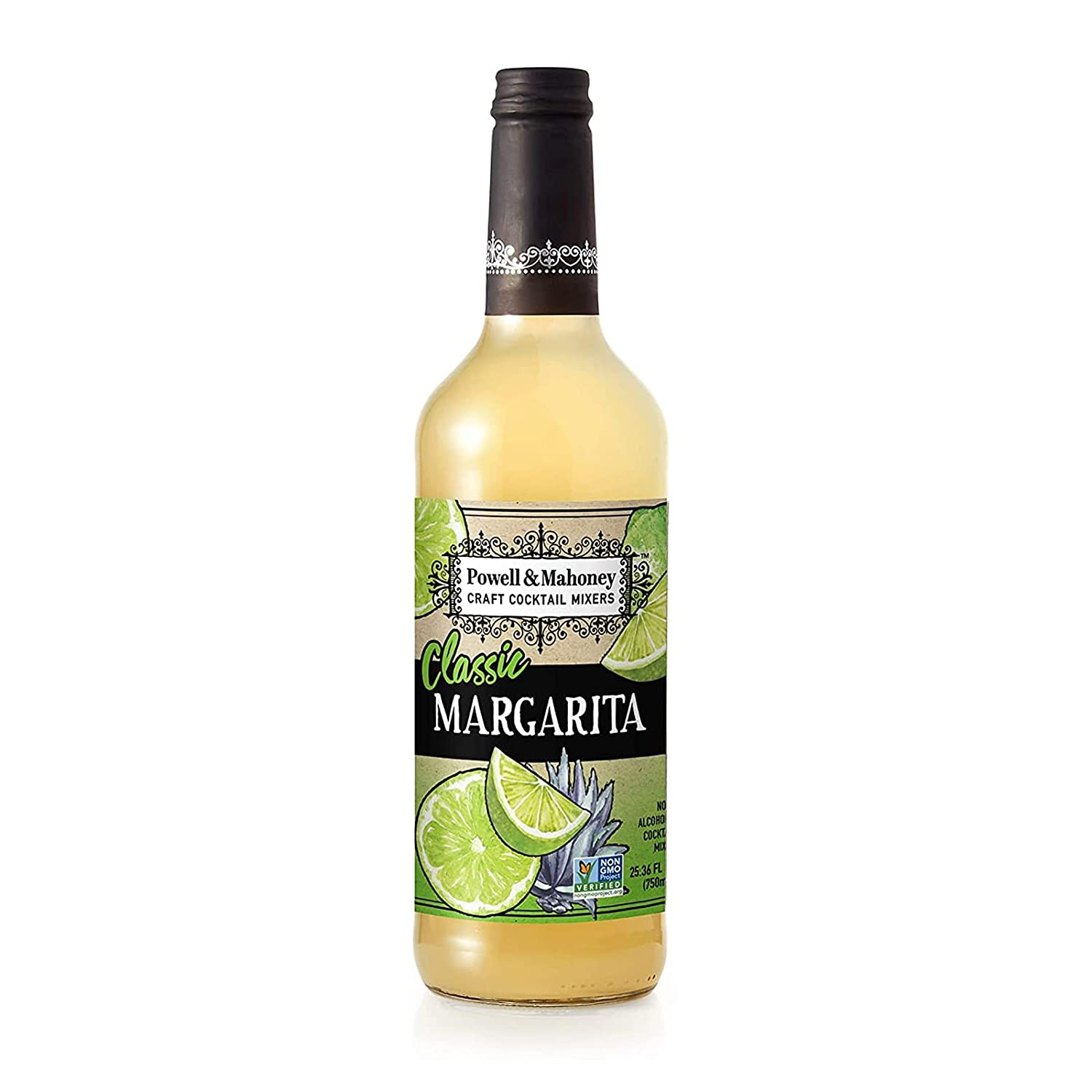 Powell & Mahoney Craft Cocktail Mixers - Classic Margarita - NA Cocktail Mix - Free from Artificial Sweeteners and Flavors - 25.36 oz - Non-GMO
