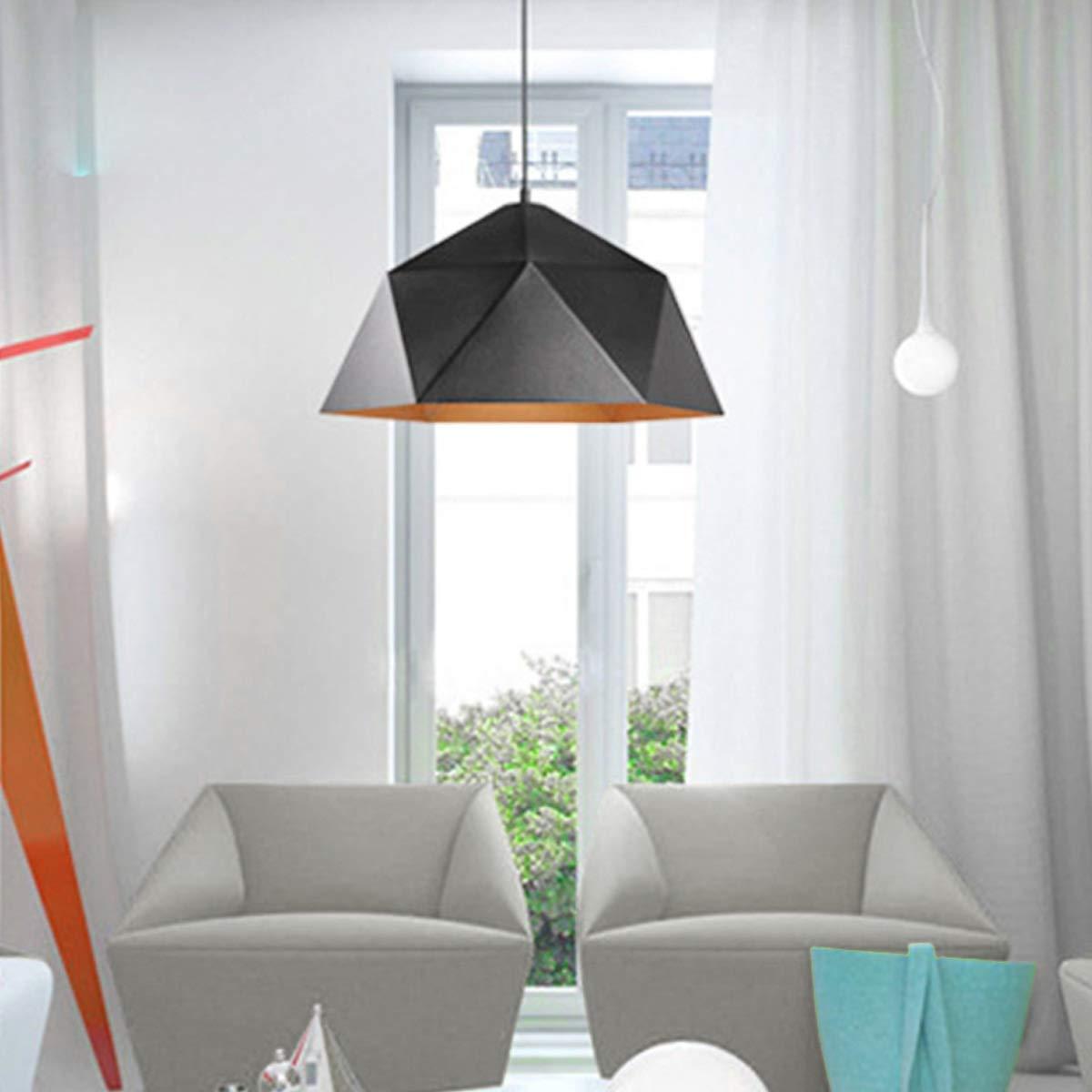 NANGE Wrought Iron Diamond Pendant Lamp, Industrial Wind Ancient Ways Geometry Pot Droplight,Cafe Restaurant Chandelier,E27(Without Light Source) (Color : Black, Size : AC 110V) by NANGE (Image #3)