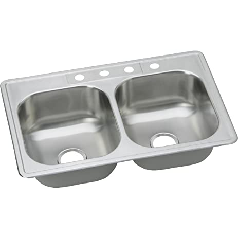 Dayton DSE233224 Equal Double Bowl Top Mount Stainless Steel Sink