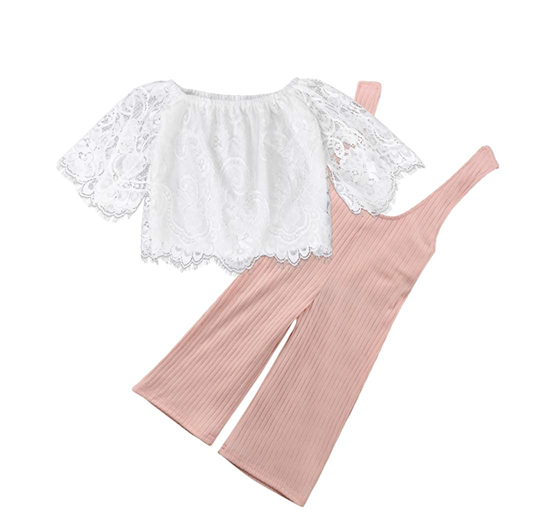2Pcs Toddler Girls Long Sleeve Lace Off Shoulder Tops Shirts Striped Bell Bottom Overall Pants
