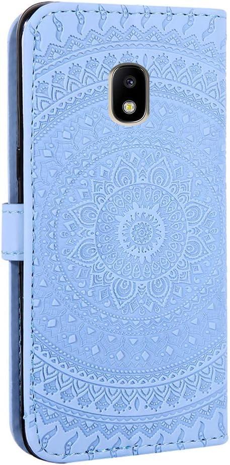 Tosim Coque Galaxy J7 2017 Portefeuille /Étui en Cuir Synth/étique Fonction Stand Case Housse Folio /à Rabat Compatible avec Samsung Galaxy J7 2017//J730F TOHME030324 Bleu