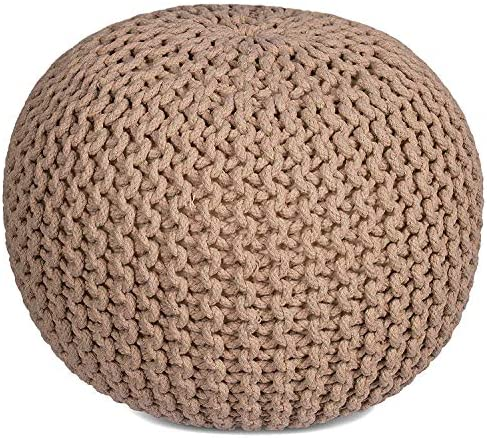 RAJRANG BRINGING RAJASTHAN TO YOU Cotton Braided Cord Stuffed Ottoman Large – 23 X 16 Inch – Hand Knit Modern Floor Pouf Round Footstool Home Decorative Small Space Patio Seating – Tan