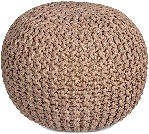 RAJRANG BRINGING RAJASTHAN TO YOU Cotton Braided Cord Stuffed Ottoman Large