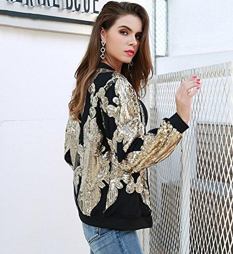 Larga Missord Manga dorado para mujer chaqueta Abrigo tq4WSnxrt