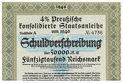 (1940 DE RARE ORIGINAL 50,000 MARK NAZI WAR BOND w BLUE EAGLE, 2 SWASTIKAS 50,0000 Marks Crisp Uncirculated)