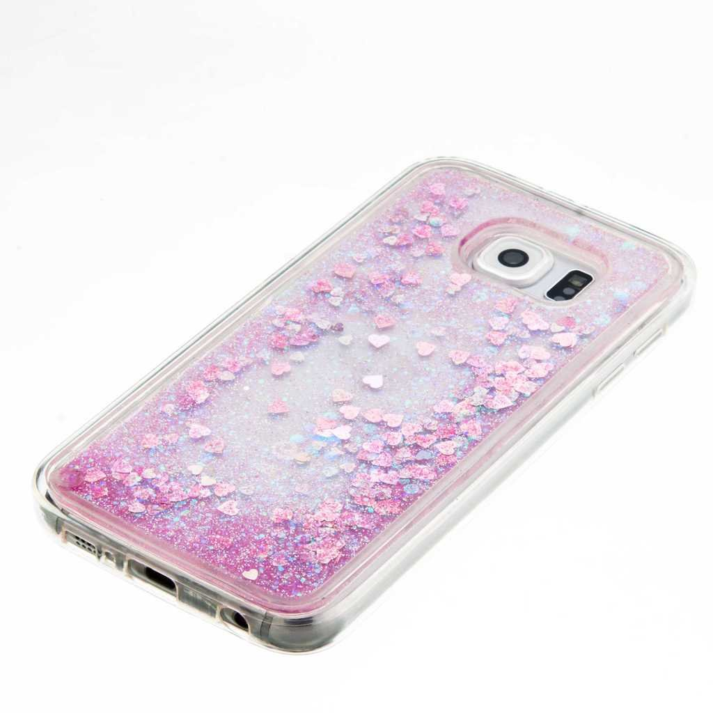 Pink Love Heart Christmas Gift Design Clear Cover Butterfly Feather iGrelem Galaxy S6 Case Glitter Bling Flexible TPU Soft Case Leaves with Free Tempered Glass Screen Protector
