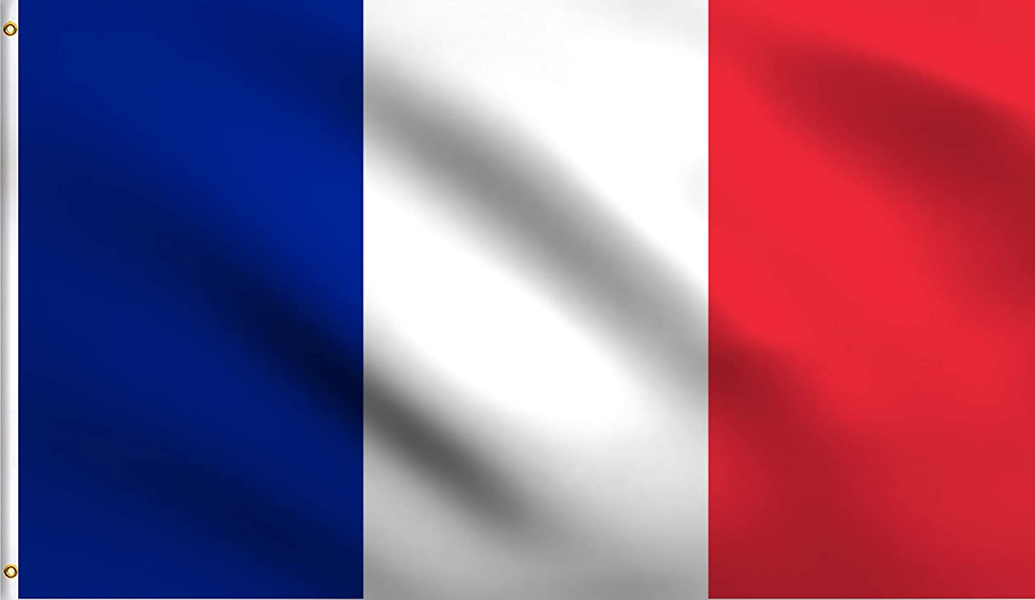 DMSE France French National Flag 2X3 Ft Foot 100% Polyester 100D Flag UV Resistant (2' X 3' Ft Foot)