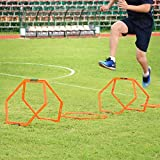 Sportneer Hexagonal Speed and Agility Training Aid Rings Ladders Hurdles For Soccer/Football/Basketball with Carrying Bag, 6 Pieces