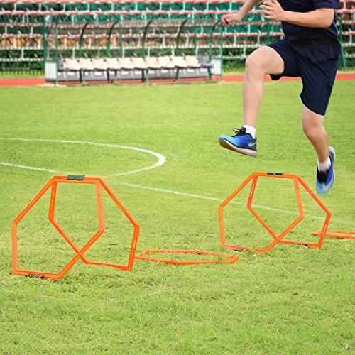 Sportneer Hexagonal Fly like the wind and Agility Training Aid Rings Ladders Hurdles For Soccer/Football/Basketball with Carrying Bag, 6 Pieces